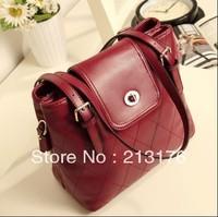 2013 new retro bag lozenge case wine red bucket bag shoulder bag shoulder strap bag handbag FREE SHIPPING!