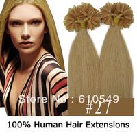 "Free Shipping (100S 0.5g/s) 18""-22"" Remy Keratin Nail tip Human Hair Extensions Silky Straight #27 Strawbreey Blonde"