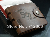 Min order $8.8(Mix order). Vintage Men's Leather Wallets Brown 501 Print Purses Pockets ID Credit Card Slots Cente Notecase