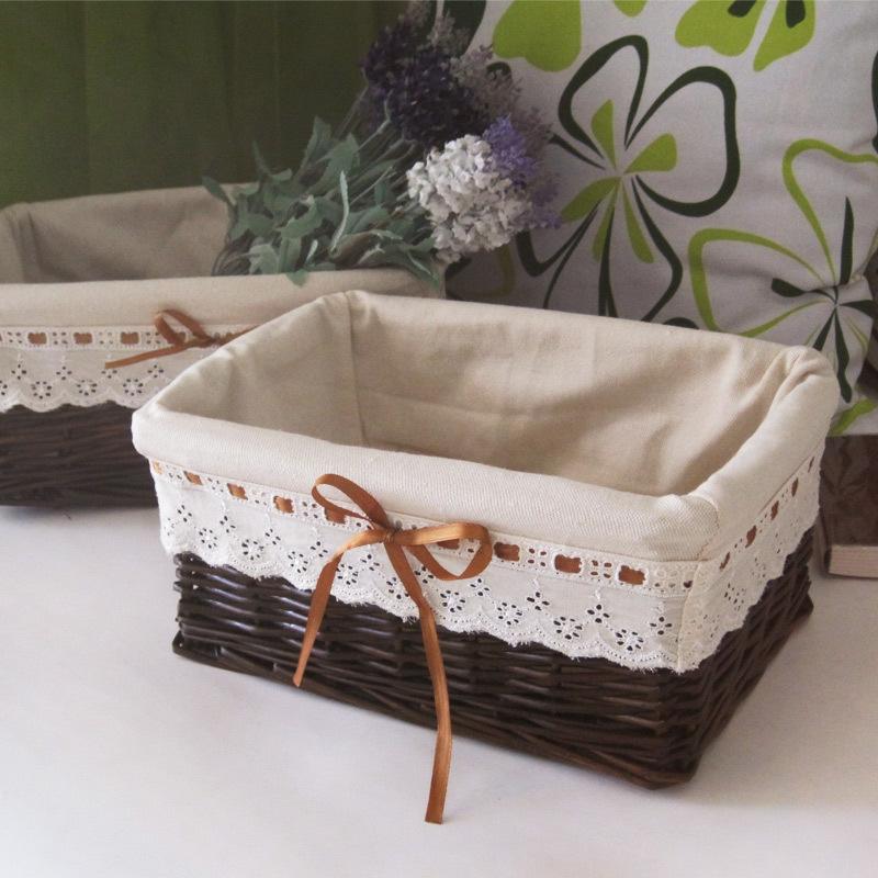 armazenamento cesta de vime rústico tecido pequenos detritos cesta de