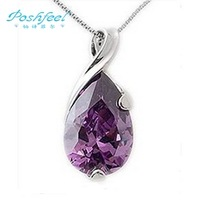 2013 NEW Wholesale jewelry  PF  brand ladies 100% genuine 925 silver & platinum plated purple crystal pendants
