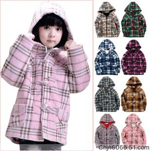 Classic autumn and winter child overcoat plaid outerwear male female child wadded jacket(China (Mainland))