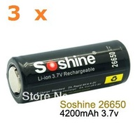 3 x 26650 4200mAh 3.7V Li-Ion Lithium Rechargeable Battery Soshine with Protection