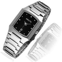 Classic quality watch mirror square quartz lovers calendar tungsten steel watches mens watch