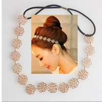Lovely Chain Elastic Hollow Out Rose Flower Stretch Hair Band Headband Metallic[000753]