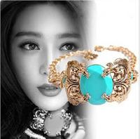 Серьги-гвоздики korean jewelry Fashion Spinning Top Shape Metal Filled Venetion Pearl&Colored Agate Earrings Gold 2013 Women052705