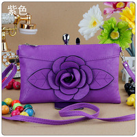 free shipping 26*15cm Designer Flower Zipper Bags for Women Fashion White Leather Handbags with 50 inches Strap in 11 clolors