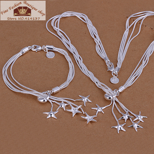 Free Shipping 925 Sterling Silver Star pandent Necklace Bracelet Jewelry Set, Factory Price Wholesale(China (Mainland))