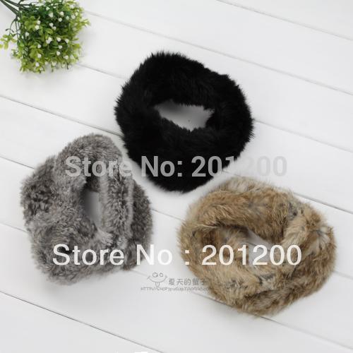 2013 Free Shipping Hand Knit Rabbit Fur Snood Circle Scarf Knit Rabbit Fur Headband / Neckwear/ Ring Scarf / OEM/ Wholesale(China (Mainland))
