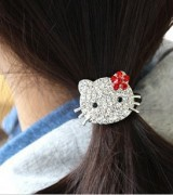 "T7006 ""pink"" Hello Kitty / Hello Kitty hair band hair rope crystal diamond hair band headrope(China (Mainland))"