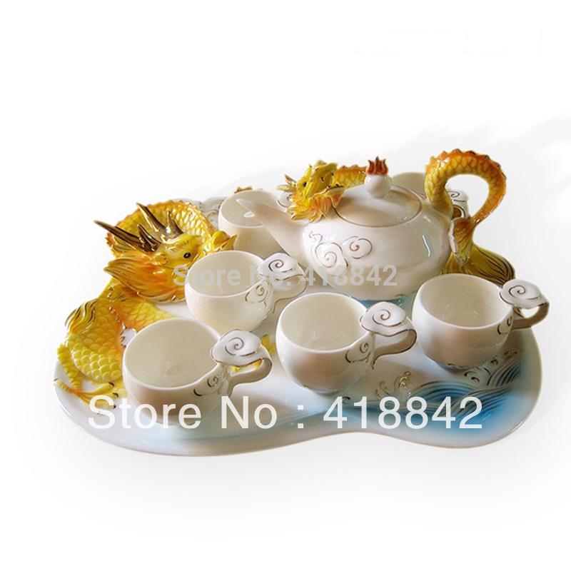 Kung Fu Tea Set Porcelain Yellow Dragon Tea Set Coffee Set 6Cups 1Platter 1Pot Christmas Gift