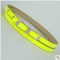 Min Order $15(mixed order) Bow belt female thin all-match photchromic patent leather belt decoration Women lemon yellow strap