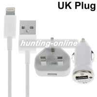 3 in 1 (UK Plug Home Charger, Car Charger, USB Cable) Travel Kit for iPhone 5, iTouch 5