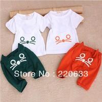 2014 new retail fashion children kids set summer sport clothing cartoon cat design short sleeve T-shirt+pants  Free shipping