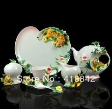 Full Set Porcelain Lovely Tiger Coffee Set 4Cup/4Saucer/1Creamer/1Sugar Bowl/1Pot/1Platter/4Spoon