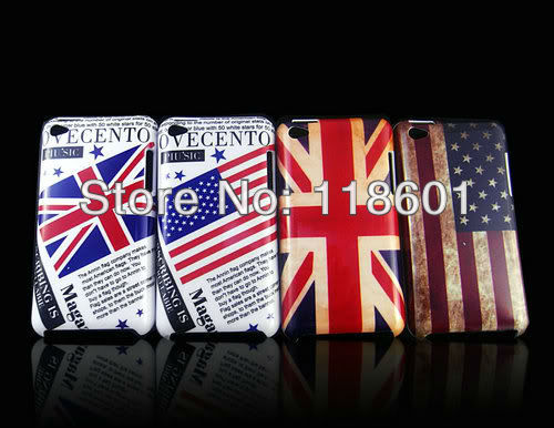 Wholesale 50pcs/lot New Fashion Retro Classic US & UK Country Flag Hard Cover Shell Skin Case For iPod Touch 4 4TH 4G GEN(China (Mainland))