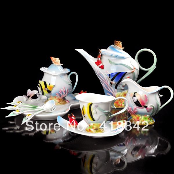 Full Set Porcelain Clownfish Coffee Set 4Cup 4Saucer 1Creamer 1Sugar Bowl 1Pot 1Platter 4Spoon