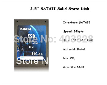 64GB SSD Lowest Price with Free Shipping, 2.5'' Solid State Disk 64GB with SATAII, Metal Case SSD 64GB 2.5 inch for Laptop/PC