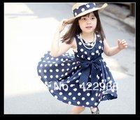 Free shipping,2013 Hot girls dot dresses summer  2color 3~11Age Children clothing 1lot/5pcs