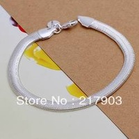 H164 Wholesale! Free Shipping Wholesale 925 silver bracelet, 925 silver fashion jewelry Flat Snake Bone Bracelet