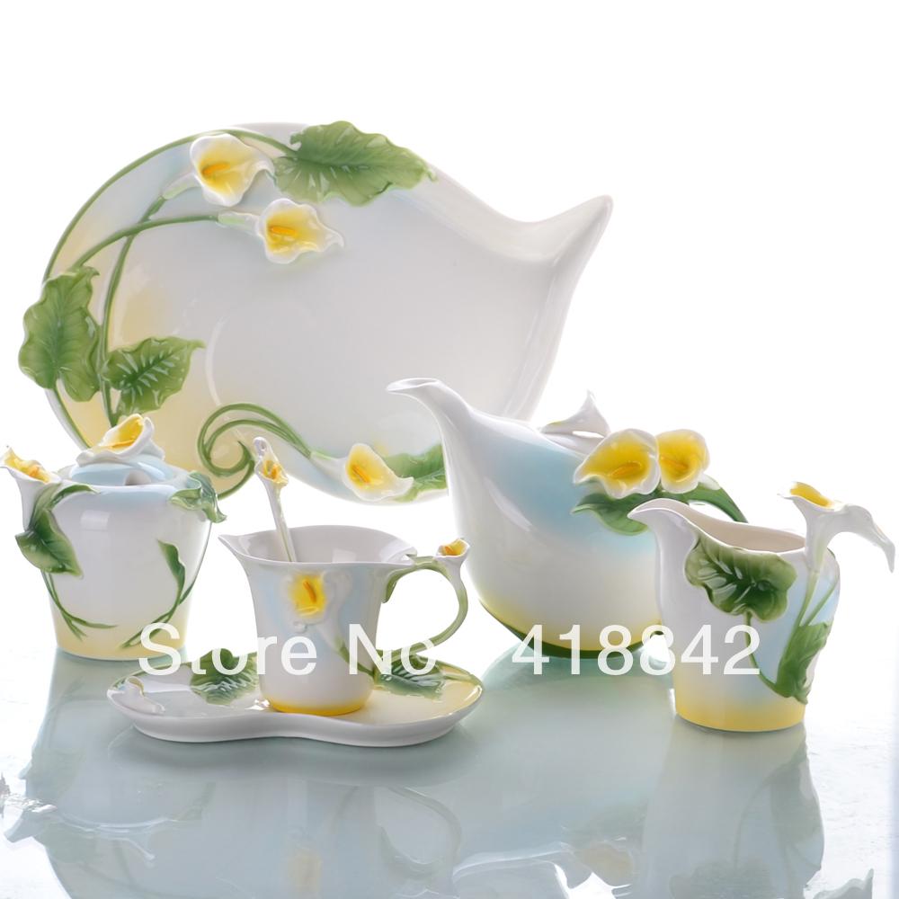 Full Set Porcelain Alocasia Coffee Set 4Cup 4Saucer 1Creamer 1Sugar Bowl 1Pot 1Platter 4Spoon