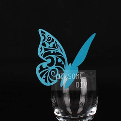 Wedding decoration champagne Glass Butterfly Place Cards 100pcs/lot BKHD003(China (Mainland))
