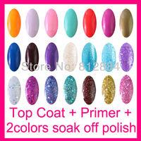Top Coat + Base Primer + 2 Color 15ml Nail Art Nail Soak Off UV Gel Polish Set For UV Lamp Glitter Nails Tip (105 colors)