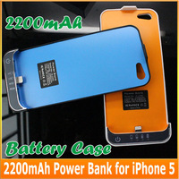 5000pcs/lot, 2200mAh External Backup Battery Pack Case Power Bank Adapter Charger For iPhone 5 5S