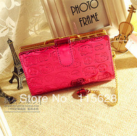 Free shipping! Hello Kitty Funky Divas rose embossed hasp medium ladies wallet card bag