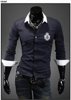 Free Shipping New Man Shirts,Embroider Casual Slim Fit Stylish Shirts Men's Fashion Color:Gray,light blue&navy M-XXL MCL044