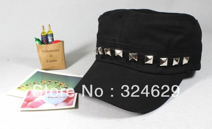 2013 a primavera eo verão as novas tendências da moda cap marinha ocasional cap marinheiro rebites chapéu de topo achatado(China (Mainland))