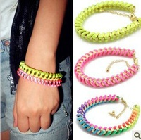 24pcs Free shipping Fashion PUNK Jewellery Fluorescence Wrapped Bracelet Rope Bracelet Neon Line Friendship Bracelet