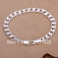 H246 Wholesale! Free Shipping Wholesale 925 silver bracelet, 925 silver fashion jewelry 8mm Flat Bracelet