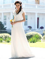 Listen ! Smelling... Yesterday Once M......Sheath/ Column V-neck Floor-length Chiffon Elastic Satin Wedding Dress