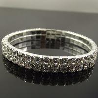 12pcs/lot Free shipping Double layers 2 rows Crystal Shiny Crystal elastic Bracelet elasticity Bracelets