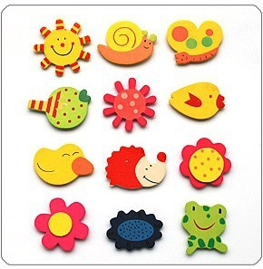Free shipping 2014 New Fashion Creative Wooden Carton refrigerator fridge magnet sticker TY034(China (Mainland))
