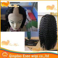 Qingdao Esee wigs sale 100% mongolian virgin hair U-part full lace wig kinky curly 1b color density 120%
