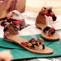 Plus size 34 43 New arrival flip-flop low-heeled silk belts colorful embroider bow waterproof bohemia women's casual sandal shoe