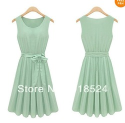 Free Shipping Womens Sleeveless Mint Green Pleated Chiffon Casual Party Lolita Tank Vest Dress With belt(China (Mainland))