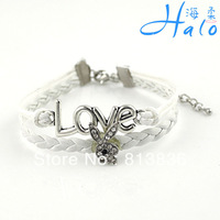 3PC/lot B00-788 Free Ship Rabbit Head White PU Leather Crystal Rhinestone Bracelet for 2013 Girl Accessories