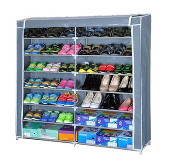 Folding Shoe Rack With Rolling Curtain, Dusty Prevention,Shoe Tree Closet Organizer Storage Shelf Cabinets dustproof