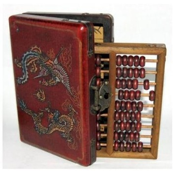 Free shipping Wholesale abacus leather WOODEN DRAGON PHOENIX JEWEL BOX