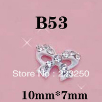 Free Shipping 20pcs/Bag 10*7mm Bow Ribbon 3D Metal Nail Art Decorations +Shining Rhinestones B53 Alloy Crystal Metallic Diamond