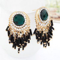 Min Order $10 Fashion vintage luxury emerald bead cuicanduomu tassel stud earring female  earring