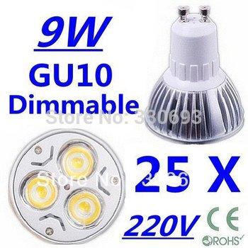 25X High power CREE GU10 3x3W 9W 220V Dimmable Light lamp Bulb LED Downlight Led Bulb Warm/Pure/Cool White