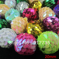 Charming !20mm Mixed colours Sequins ball  Beads ,100pcs/lot ,for Christmas Decoration