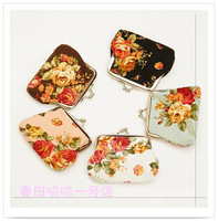 New Arrival Vintage flower canvas coin purse key wallet floral coin bag 10pcs/lot free shipping