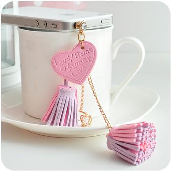 Hearts . sweet for iphone 4 dustproof plug mobile phone headphones leather tassel pendant