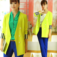 2013 plus size clothing  spring new arrival european version of the long-sleeve medium-long thin suit jacket neon yellow green