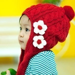 2012 autumn and winter red small flower knitted male knitted hat ear protector cap child lengthen scarf(China (Mainland))